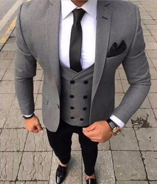 XLY 2019 Últimos diseños de pantalón de fumar Fumar Tux Gris Traje de los hombres Slim Fit 3 piezas de esmoquin estilo de novio trajes personalizados Prom Blazer Terno masculino
