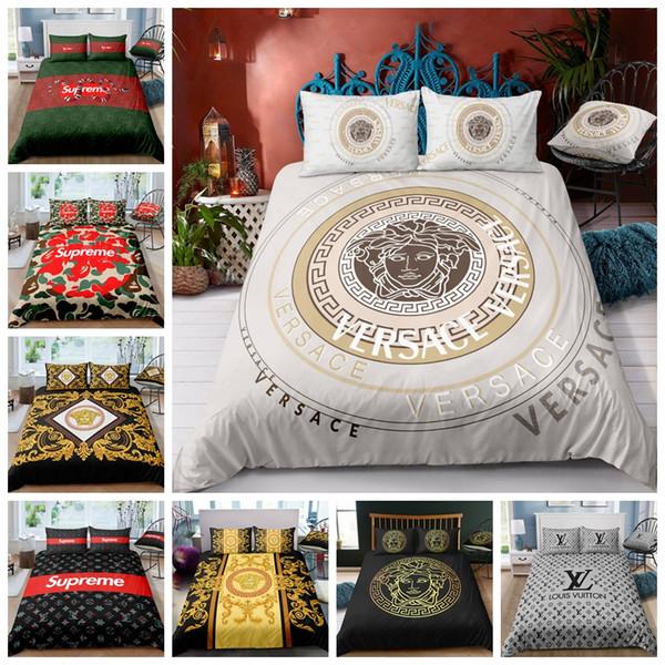 High-End-Bettwäsche-Set König Luxus modische Bettbezug-Set Königin Twin Full Single Double Super weiche Bettdecke mit Kissenbezug