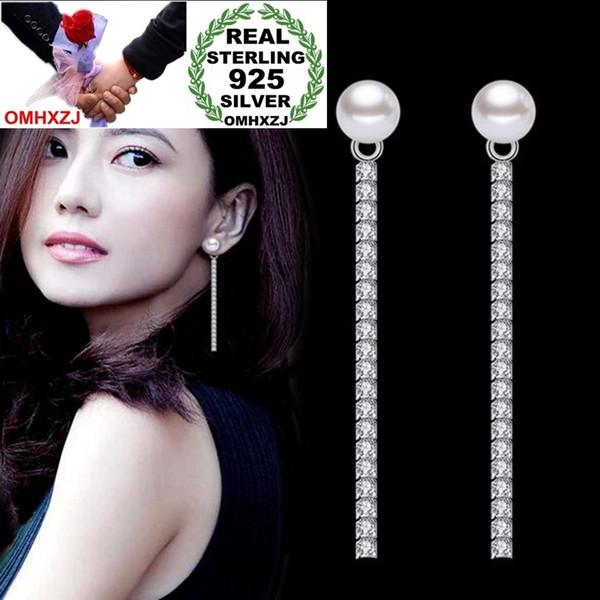 OMHXZJ Wholesale Jewelry Sweet Fashion joker for Woman Gift Pearl 925 Sterling Silver Long Tassel Stud Earrings YS266
