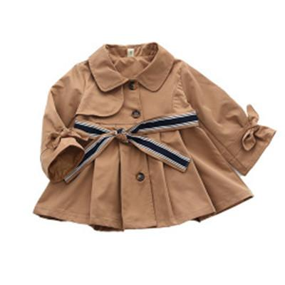 Bebek Bebek Kız Kızlar için Sonbahar Bahar Yeni Çocuk Erkek Kız saf Renk Palto Çocuk Uzun Rüzgarlık Bel Kayışı ile ceket