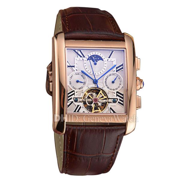 Klasik Erkek Saatler Kare Kutu 316L Çelik Deri Kayış Kol Otomatik Hareketi İzle Adam Su Geçirmez Moda lüks erkek saatler