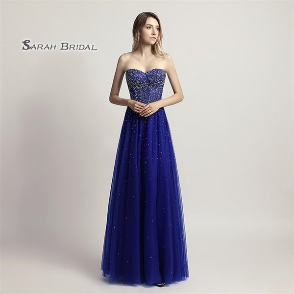 2019 A-Line Royal Blue Tulle Prom Dresses Strapless Floor Length Beaded Sexy Sheer Bodice Evening Party Gowns LX464