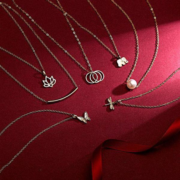 Desejo Dogeared Colares Com cartão Elefante de Ouro Coração Chave Trevo Ferradura Triângulo Charme Pingente de Colar Para as mulheres Moda Jóias presente