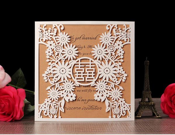 2019 Eleganti inviti di nozze biglietti di auguri di carta business grazie biglietti da visita RSVR flora moderno taglio laser carta inviti