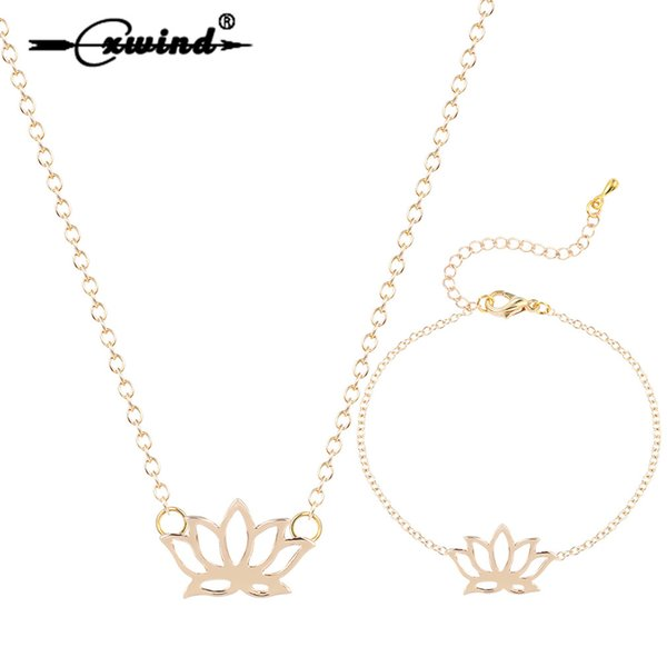 Cxwind Lotus Flower Bracelet & Necklaces Pendant Jewelry Sets for Women DNA Seashell Infinity Karma Round Bird Jewelry Set Gift