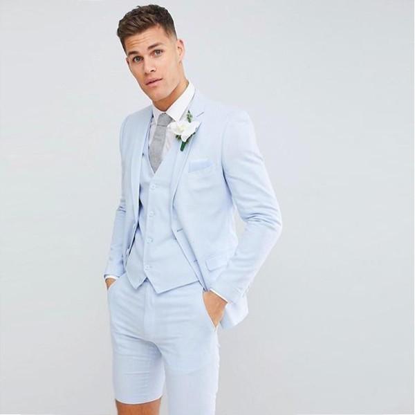 2020 Yakışıklı Genç Erkek Düğün Smokin Takım Elbise (Blazer + Kısa Pantolon + Yelek) Moda Blazer Balo Akşam Parti Düğün Özel Ç ...