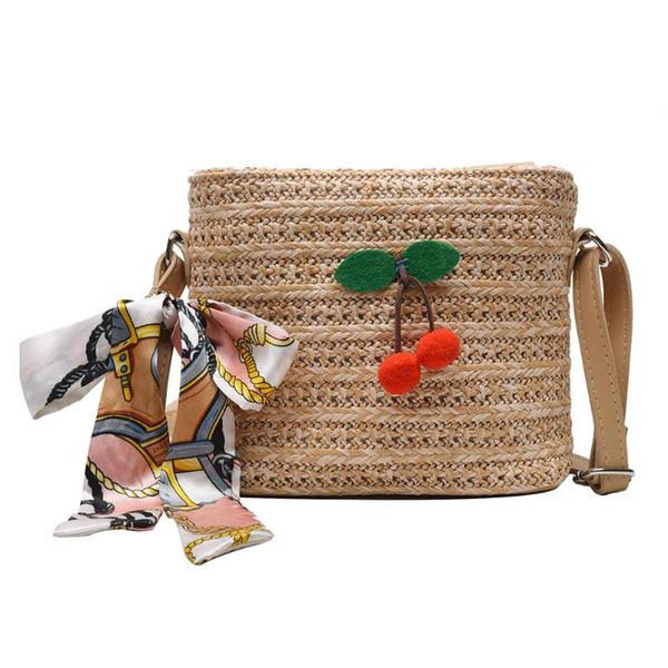Женская соломенная сумка Маленькие сумки через плечо через плечо Cherry Decor Соломенная летняя пляжная сумка с верхней ручкой