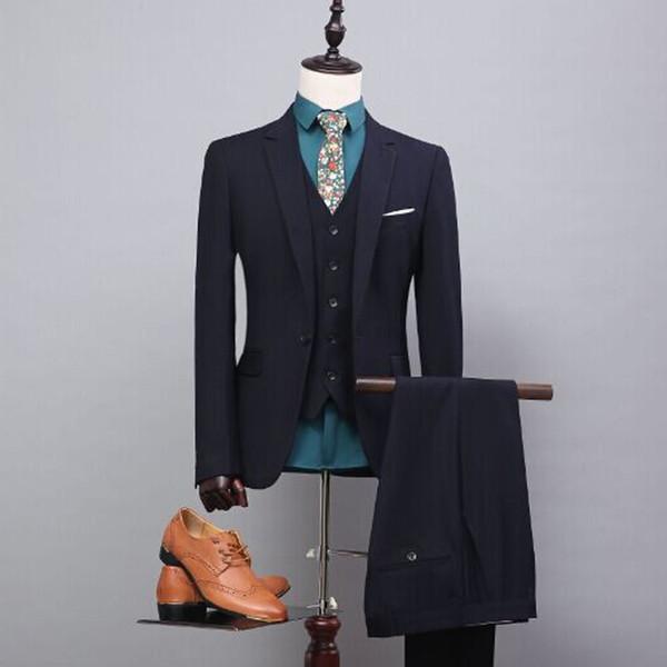 Black Business Formal Men Suits Notched Lapel Three Piece Custom Made Groom Wedding Tuxedos (Jacket + Pants + Vest)