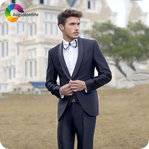 Charcoal Gray Groom Wedding Tuxedos Groomsmen Suits Shawl Lapel 2Piece Best Man Blazers Jacket Pants Latest Coat Pant Designs Costume Homme