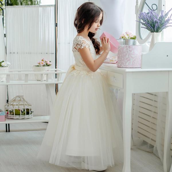 Encantadores vestidos para niñas de flores para bodas Tulle, palabra de longitud V-Back vestido de bola Vestidos de dama de honor para niñas