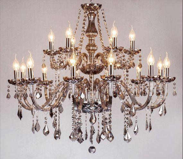 Smoke grey luxury living room bedroom dining room upscale candle chandelier crystal chandelier lighting crystal