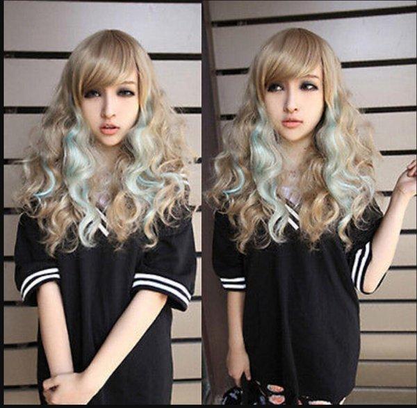 PERÜCKE Freies Verschiffen Lolita Blue Mix Volle Perücke Lockiges Haar Cosplay Party Anime Gradienten Perücken Neu