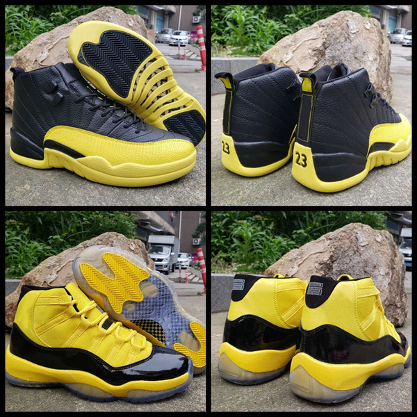 2019 New 11 12 Mens Basketball Shoes Bumblebee Yellow Black Trainers Sports Sneakers Designer 11s 12s baskets Jumpman des chaussures