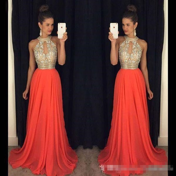 2019 Long Halter Prom Dress Beads Sequins Chiffon Elegant Formal Keyhole Neck Floor Length Evening Gowns Party Wear