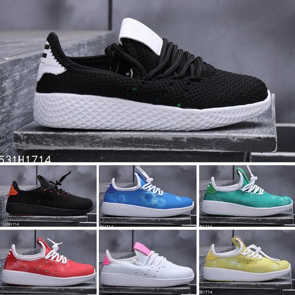 adidastennishu 2018 tienda de wengkk HU niños zapatillas de deporte 2017 superventas del bebé zapatos de cuero reales con el precio barato de calidad superior libre shippin