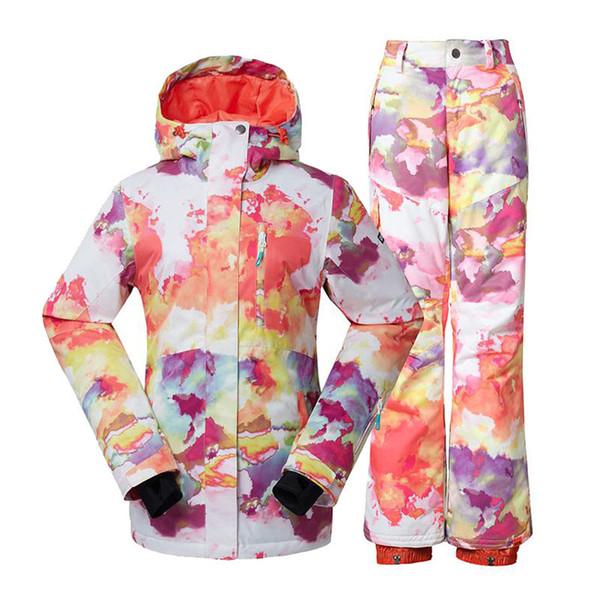 GS Women Snow Suit set 10K waterproof windproof skiing Clothing snowboarding sets Camouflage Girls Snow jacket and bib ski pants