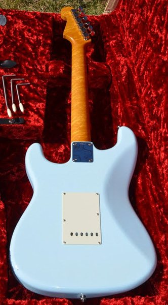 Custom Birdseye Maple neck Sonic Blue ST Electirc Guitar White Mother of Pearl Pickguard, Rosewood Fretboard, Tremolo Tailpiece & Whammy Bar