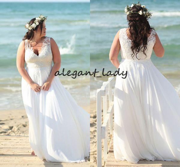 Plus Size Beach Wedding Dresses 2019 Modest Flowy Lace Chiffon Skirt Full length Vestido De Novia Boho Bridal Wedding Gown