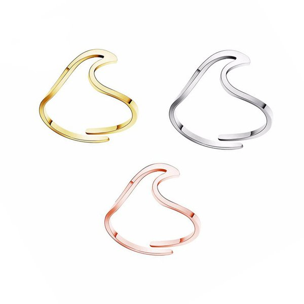 Stainless Steel Wave Rings for Women Adjustable Ocean Wave Thumb Ring Party Gift 2019 Women Accessories