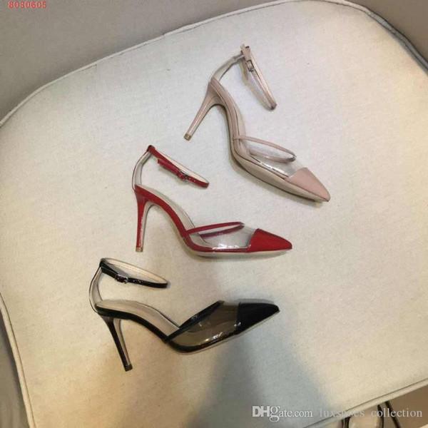 Tide producto moda zapatos de mujer, estilo de pista Sandalias de piel de vaca de gama alta, sandalias de elementos transparentes de moda de mujer