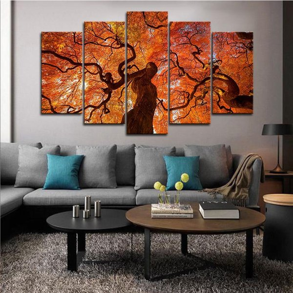 5pcs Maple Tree Canopy Red Leaves Wall Art HD Print Canvas Painting Fashion Hanging Pictures Living Room Decor