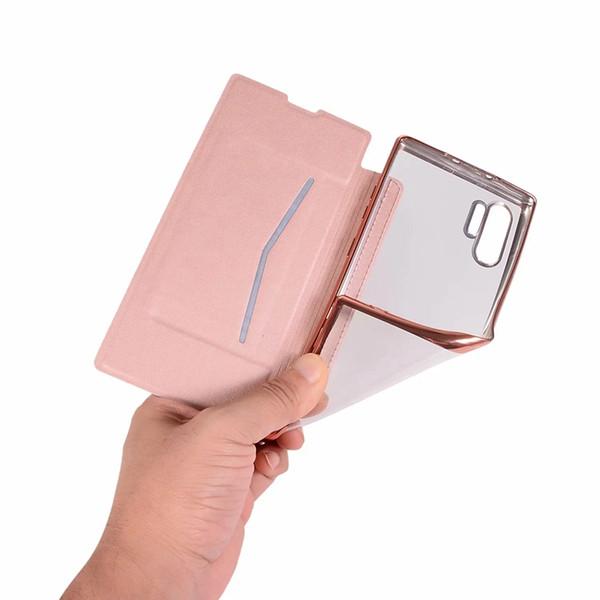 Funda de billetera de cuero cromado para Iphone 11 XI R MAX 5.8 6.1 6.5 2019 Galaxy Note 10 Pro Funda de chapa transpirante metálica Funda con tapa Funda sim