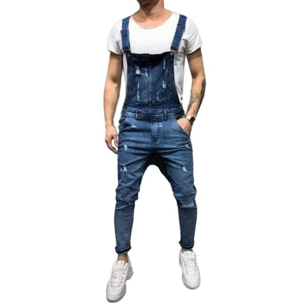 Men Casual Ripped Pocket Medium Waist Long Jeans Bib Loose Ankle Length Buckle Pants Spring, Summer, Autumn