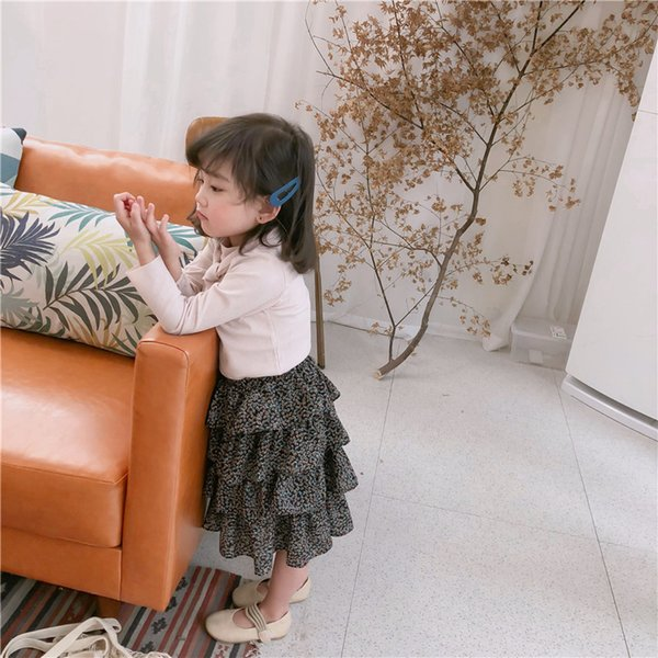2019 Spring New Arrival korean style cotton flowers pattern princess all-match layer skirt for fashion cute sweet baby girls