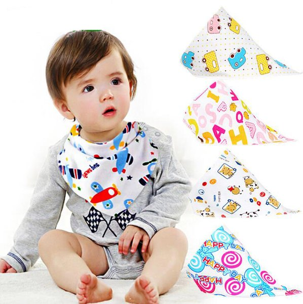 INS Baby Bibs Cartoon Printed Triangle Burp Saliva Cloth Infant Toddler Bandana Scarf Kids Button Nursing Bibs OOA6835