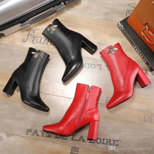 2018 New Womens Knight Boots Cowboy Shoes Platform Ankle Boots Genuine Leather Buckle Designer Luxury Winter Black Shoes SZ35-40