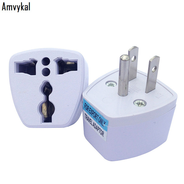 best selling Amvykal 250V 10A White Travel AC Power Electrical Plug Adaptor Universal UK AU EU To US Plug Adapter Socket Converter