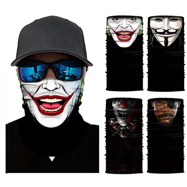 Free Shipping 3D Cycling Motorcycle Head Scarf Neck Warmer Skull Face Mask Ski Balaclava Headband Headwear Mask Scary Shield Outdoor DHL