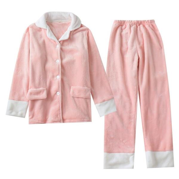 2019 Sonbahar Kış Kadın Pijama Setleri Çiftler Sıcak Flanel Uzun Kollu Pijama MaleFemale Severler Için Kalın Ev Suit Pijama SH190905
