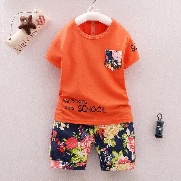 good quality Fashion Baby Clothes Children Boys Clothing Set Floral Print Shorts Sleeves Shirts+Printing Shorts Summer Kids Clothes