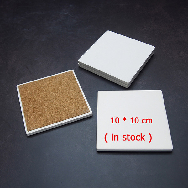 best selling Blank Ceramic Coasters White Square 4 inch Absorbent Sandstone Coaster with Cork Back Coasters DIY