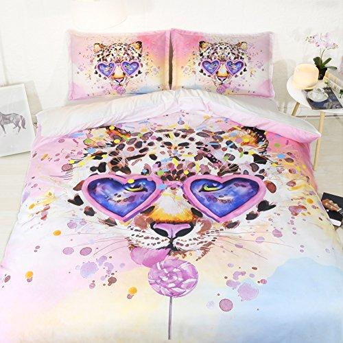 Bed Covers For Girls Pink Leopard Duvet Cover Queen Full Candy Bedspread Kids Full Size Bed Set Girls NO Comforter Yellow Blue Green