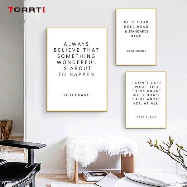 CoCo Motivation Zitate Poster Drucke Glauben Sie immer, dass inspirierende Buchstaben Leinwand Malerei für Frauen Schlafzimmer Home Decor