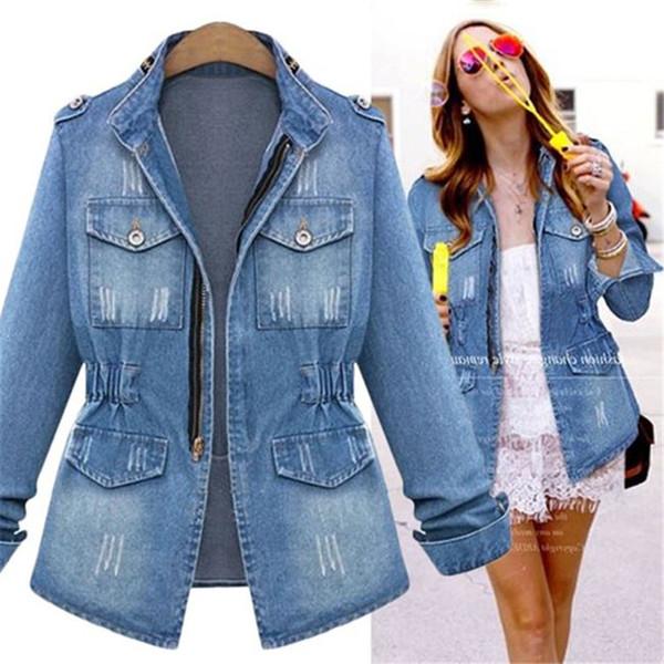 Frauen Scriatched Pocket Jeans Jacken Frühling Herbst Langarm Mode Weiblichen Mantel Casual Frauen Denim Outwear mit Reißverschluss