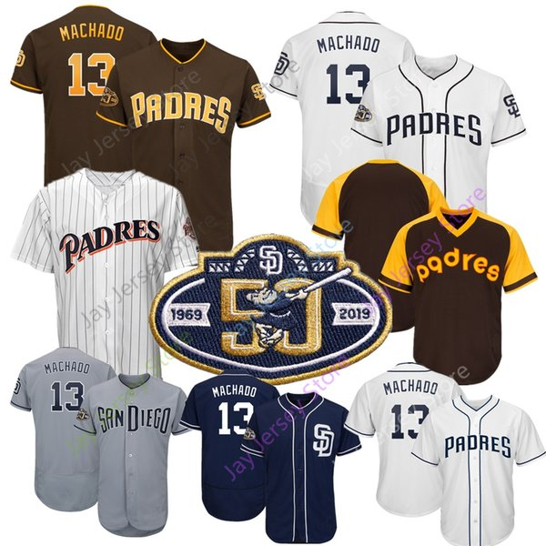 new product e5cb7 87a26 2019 2019 New Manny Machado San Diego Padres Jersey 50th ...