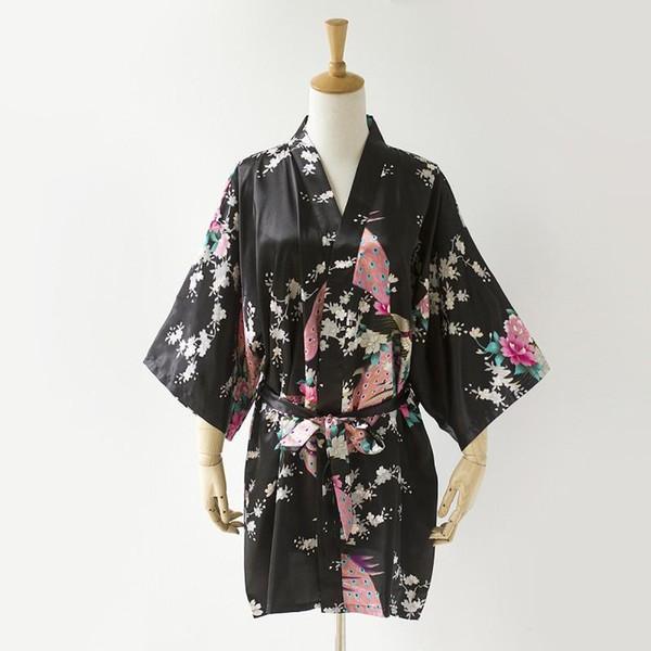 Wholesale- Hot Sale Women Sexy Faux Silk Bathrobe Wedding Bridesmaid Robe Dress Nightgown Flower Kimono Bath Gown Plus Size XXXL YF3033
