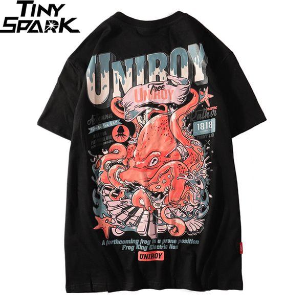 2019 Harajuku T Shirt Octopus Men Hip Hop T-Shirt Streetwear Summer Cotton Tshirt Short Sleeve Print Black Tops Tees Street Wear