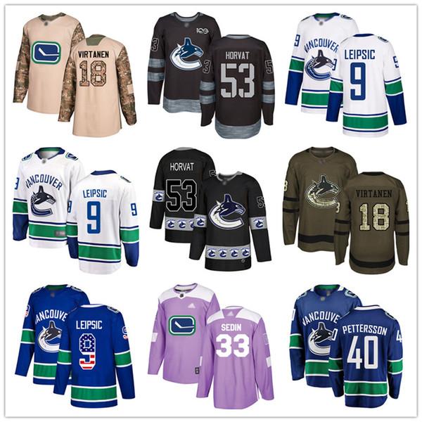 top popular Custom Vancouver Canucks Jersey Sedin Bo Horvat Jake Virtanen Jacob Markstorm 9 Brock Boeser Elias Pettersson USA Fashion hockey jerseys 2019