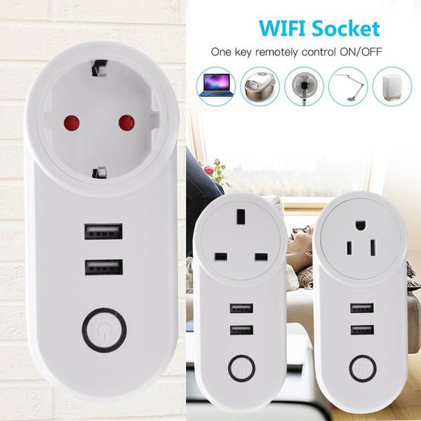 Timethinker Smart Home Ewelink WiFi Smart Socket 2-USB Outlets for Alexa Google Home IFTTT FR UK US EU Plug APP Remote Control