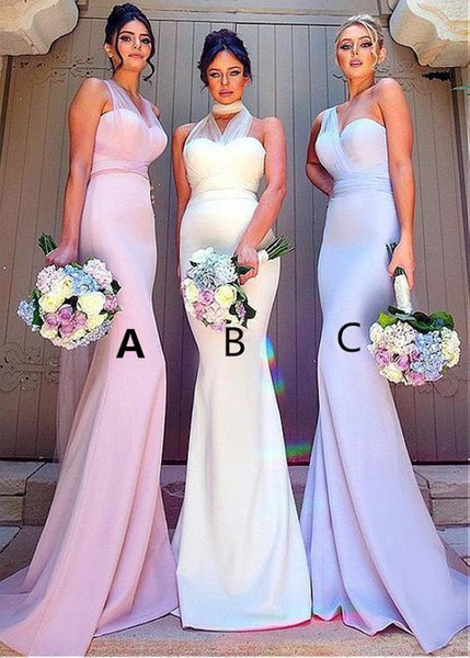 Sexy Sweetheart Mermaid Bridesmaid Dresses 2019 Unique Chiffon Blue Pink Long Junior Maid of Honor Wedding Party Guest Dress with Belt