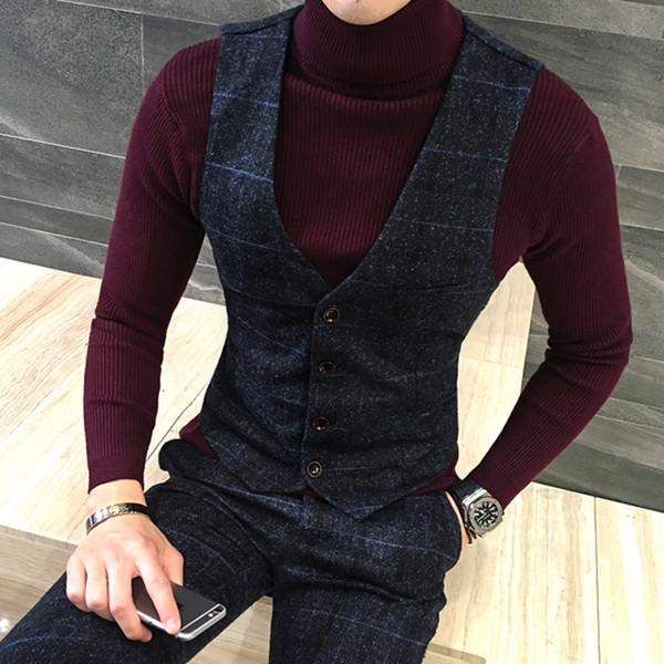 Coton fin de haute qualité de marchandises de haute qualité des hommes de la grille formelle robe de mariage gilet costume gilet Homme épais gilets de costume de la grille d'affaires