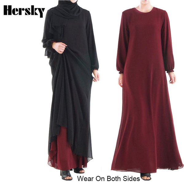 Wear On Both Sides Dubai Ramadan Abaya Dress Double-Layer Chiffon Muslim Women Dresses Islamic Turkish Robe Musulmane Clothing