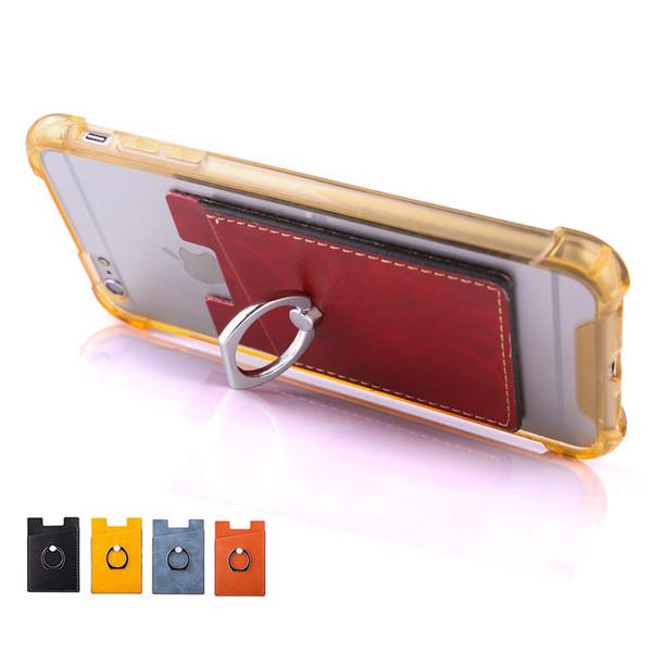 Bague de téléphone cellulaire en cuir PU avec support de carte pour Smartphones Android Samsung Huawei Android
