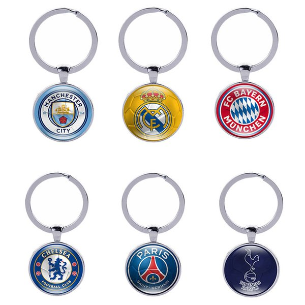 Football Club Keychain Soccer Fans Souvenir Gifts Glass Cabochon English Italy Spanish Teams Logo Key holder Sports Key Rings Wholesale