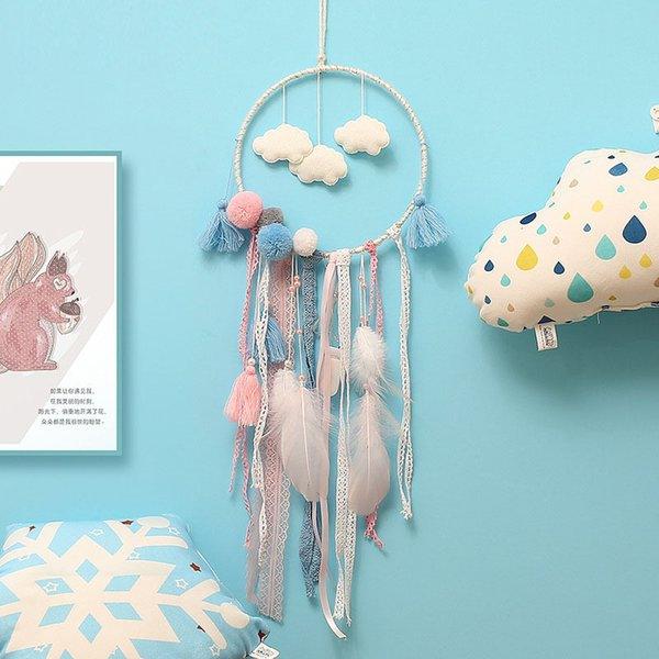 Flaky Clouds Dreamcatcher Feather Teenager Girl Catcher Netzwerk LED Dream Catcher Bettzimmer Hanging Ornament Neuheit Artikel CCA11744 50St