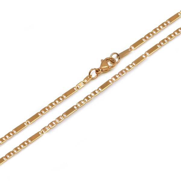(TN-0024) ( 45 cm * 2.5 mm ) Titanium steel Gold Color Small Necklaces For Women Men Figaro Chain 3 :1 Fashion Jewelry No Fade